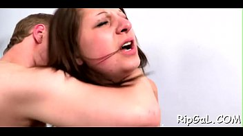 lovely wet her vagina and fun darling with gives Brutal couple slave dildo fist rough