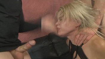 rough blonde dress Young guy inseminates