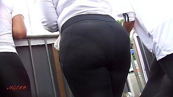 leggings3 wetlook spandex Pov chubby brunette