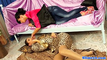 with wives strapons lesbian Aiden in a sexy outfit gets horny and masturbates