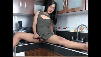 cums till cute strokes tranny she her cock gently Clothespin used on cock pins