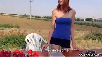 outdoor ebony public Friend convince girl to try